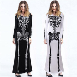 2021 robe crâne à manches longues Manches évider fantômes Costumes d'Halloween femmes cosplay robe Scary Skull Skeleton imprimé Costumes Femmes Femmes Long promotion robe crâne à manches longues