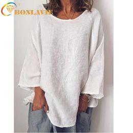 camisa naranja de manga larga para mujer. Rebajas Ropa de verano para mujeres Camiseta de lino Manga larga O-cuello Sólido Gris Amarillo Blanco Naranja Color azul Camisetas simples para mujeres