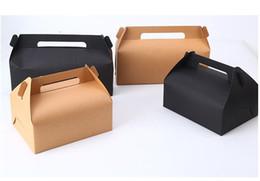 20 pçs / lote grande caixa de bolo com alça branca caixa de papel kraft preto diy baking embalagem de chocolate presente de festa favor supplier large gift favor boxes de Fornecedores de grandes caixas favor favor