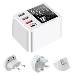 Soporte de carga para celular online-Cargador QC3.0 4 puertos Hub USB de carga rápida del muelle del soporte con pantalla LED de los Estados Unidos Reino Unido Plug Celular Smartphone Tablet UE