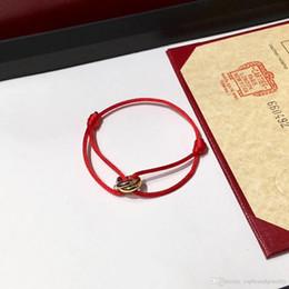 Verbundenes armband online-2018 Berühmter Markenname Hochwertiges Armband mit drei glücklichen Ringen verbindet Anhänger und Seil für Damen und Herrenschmuckgeschenk PS7249