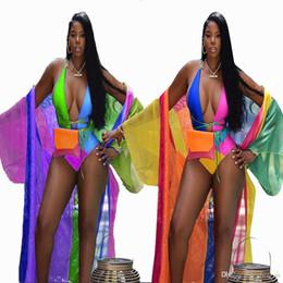 Böhmische sommer-outfits online-Böhmischer Sommer Strand Trainingsanzug Frauen Set Mode Sexy Farbe Print-Overall + Mantel Mantel Zwei Stücke passt lässige Outfits