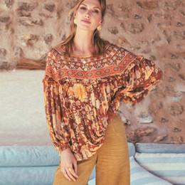 Blusas naranjas para mujer online-Boho blusa naranja amatista estampado floral verano bohemio blusas de playa Camisa de manga larga Gypsy women holiday seaside casual blusas tops nuevo