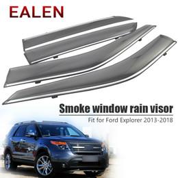 cubierta mazda espejo Rebajas EALEN Para Ford Explorer 2013 2014 2015 2016 2017 2018 Vent Sun Deflectors Guardia Accesorios 4 Unids / 1Set Ventana de Humo Visor de Lluvia