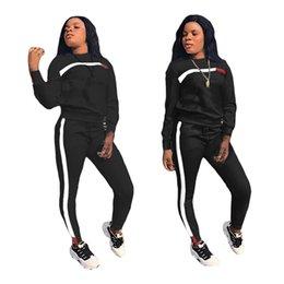Chándal originales online-Mujeres de punto de bordado Campeonato Carta Deporte Chándal manga larga O-cuello trajes + Pantalones 2 piezas conjunto con Logo Original Tamaño (S-2XL) CY110