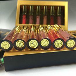 2019 kylie mate liquido labios Kylie Lipgloss Set de Cosméticos Brithday Edition 6 Colores Mate Líquido Brillo de Labios Dorado Brillante Impermeable Duradero Envío Gratis kylie mate liquido labios baratos