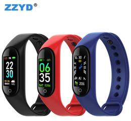 2019 schrittzähler silber armbänder ZZYD M4 Smart Band Sport Fitness Tracker Smartwatch Herzfrequenz Blutdruck Armband Für iPhone Android Handy mit Box