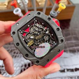 Лучшие часы механического скелета онлайн-5-Style KV Топ версия RM 35-02 RAFAEL NADAL NTPT Best All Carbon волокон Корпус Япония NH Механический каркасный циферблат 35-02 Мужские спортивные часы