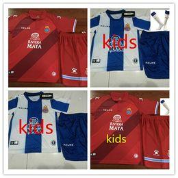 Top qualidade 2019 2020 Kids kits RCD Espanyol camisa de futebol B. Iglesias camisa espanhola Leo Baptistao wu lei Deportivo Español Victor Fútbol de Fornecedores de equipes de futebol vermelho azul