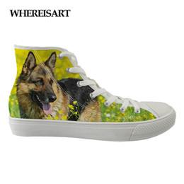 31f8add07c WHEREISART Hot Feminino Sapatos de Lona Das Mulheres 3D Wolf Dog Design  Sapatos Vulcanizados Meninas Lazer Moda Plana Para As Meninas