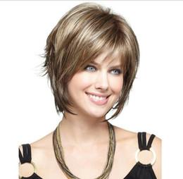 Nuevas pelucas doradas online-Free shippingNew Hot Fashion Girls Loose Straight Straight Hair Mixed Brown + Golden Women Cosplay peluca