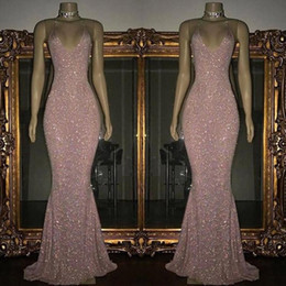 champagne sparkle prom dresses Promo Codes - Pink Sequined Mermaid Prom Dresses 2019 Scoop Neck Sleeveless Sexy Low Back Sparkling Evening Dresses Sweep Train Custom Made