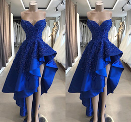 abiti asimmetrici abiti blu royal Sconti Vintage Royal Blue Short High Low Prom Dresses Immagine reale A Line Perline Appliques Sweetheart Asimmetrico Abiti da sera lunghi BC1866