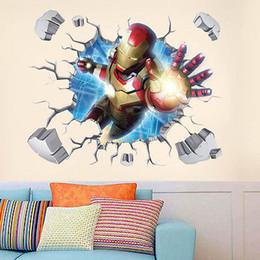 Cartoon Iron Man 3D effetto rimovibile Wall Sticker Kids Room Decor fai da te arte murale da l'arredamento della stanza dei bambini del ferro dell'uomo fornitori