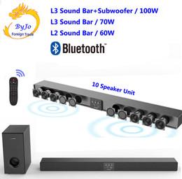 2019 control remoto con cable Amoi L3 / L2 Barra de sonido Bluetooth Colgante de pared Altavoces de tv de madera pura Subwoofer Sonido envolvente 3D Teatro en casa 10 bocina Integrar