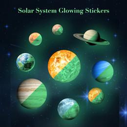 9pcs pianeti adesivi solari sistema solare bagliore nel buio giocattoli luna stelle adesivi bambino di luce per bambini arredamento camera da letto per bambini SH190911 da