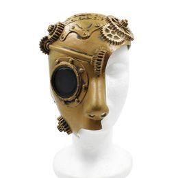 Máscaras de rosto punk on-line-Meia máscara protectora Steampunk Cosplay macia Latex Retro Mulheres Homens Punk mecânica Peças de Halloween Masquerade Costume Props