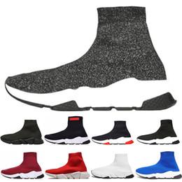 sapatas running feitas sob medida baratas Desconto 2019 ACE Designer Homens Mulheres Speed Trainer Sock calçados casuais da marca Speed Trainer Black White Red Triple Meias instrutor da sapatilha