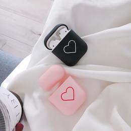 Casque bluetooth noir rose en Ligne-Mignon Rose Noir Coeur Sans Fil Bluetooth Écouteur Cas Pour AirPods Silicone Recharge Casque Cas Pour Air Pods De Protection