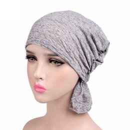 chemo hair hat Coupons - Knitted Muslim Chemo Cap Turban Stretch Hijab Gift Soft Cotton Ladies Head Scarf Wrap Hair Loss Women Hat
