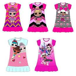 2019 vestido de rayas rojas blancas para niños Nuevo vestido para niña Diseños de dibujos animados Ropa para niños Algodón Ruffle Bottom ropa para niños vestido de niña verano
