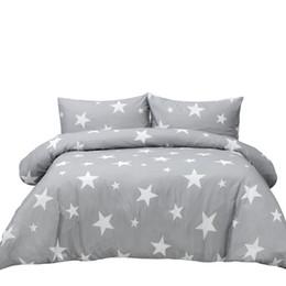 Sherwood Baskılı Polyester Nevresim Yastık Kılıfı ile Yatak Seti Çok Boyutları Yıldız Açık Gri Unisex Her Yaştan cheap light king nereden hafif kral tedarikçiler
