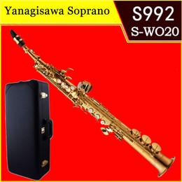 Saxophone laqué doré en Ligne-Saxophone Soprano Professionnel Original YANAGISAWA S-992 B (B) Laque Or Droit Sax Instruments de Musique Bec Embouchure