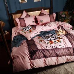 Розовый Изысканный Вышивка Постельное Белье Девушка Комната Письмо Тигра Хлопка 4 ШТ. Домашний Текстиль Сексуальные Кружева Мода Cat Постельных Принадлежностей от