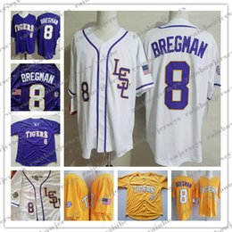 NCAA LSU Tigers #8 Alex Bregman колледж Бейсбол трикотажные изделия фиолетовый золотой желтый белый S-4XL от
