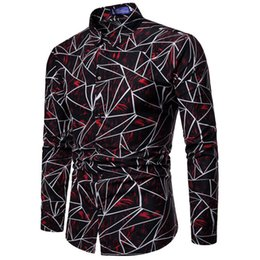 2020 мужские официальные рубашки Fashion Men Stylish Slim Fit Floral Shirt Long Sleeve Dress Shirts Tops Male Button Down Geometry Shirt s Business Formal дешево мужские официальные рубашки