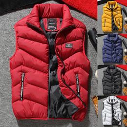 Chaleco de la manera para los hombres gris online-Chaqueta sin mangas de los hombres de moda de la motocicleta negro gris rojo invierno cálido invierno cremallera abrigos chalecos M-4XL