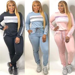 2020 ternos calças peplum New Mulheres Treino Two Piece Set Top e calças de malha Terno O-Neck Define Mulheres Outwear Sweatsuit desconto ternos calças peplum