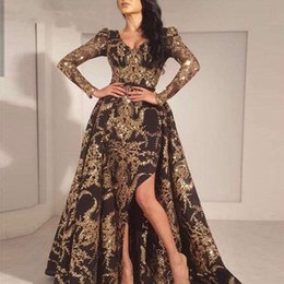 Vestido dorado brillante de manga larga online-Negro de lujo del brillo del oro de la sirena de las mangas largas vestido de noche de 2019 Arabia Saudita Dubai tren marroquí desmontable vestido de fiesta musulmana