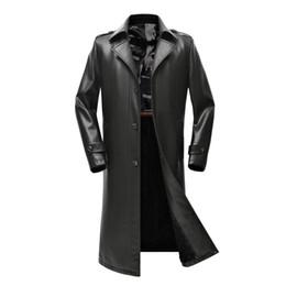 01e1335fb6b 1966 Nueva ropa de AutumnWinter Tallas grandes engrosadas Abrigo largo de hombre  Abrigos largos a la rodilla Abrigo de trinchera de cuero Tide Men