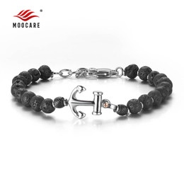 stainless steel anchor rings Promo Codes - Moocare women men anchor punk bracelet cuff with black stone stainless charm chain for male female