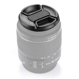 md plastico Rebajas 52mm 55mm 55mm 58mm 62mm 67mm 72mm lente de la cámara 77mmCenter Pinch Cap (Negro)