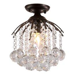 Montagem de teto de cristal vintage on-line-Lustres modernos preto LEVOU Lustre de Cristal de Iluminação Espelho E26 / 27 Lâmpada Do Teto para Cozinha Luminária Home Decor luminária de teto