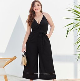 плюс комбинезоны с широкими ногами Скидка Plus women clothing sling waist wide leg large size women jumpsuit new holiday casual trousers
