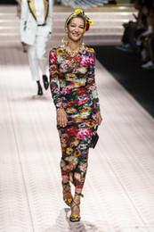 vestidos de noite bodycon Desconto Milan runway dress 2019 dobra flores vestidos de impressão das mulheres designer de mangas compridas bodycon vestidos de festa à noite yy-106