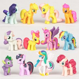12 unids / set Figuras de Acción Juguetes Mini PVC Set Rainbow Dash Twilight Sparkle Apple Jack Spike Dragon Dolls desde fabricantes