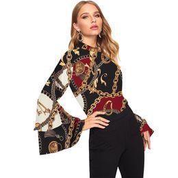 chiffon-tops für damen Rabatt Damenmode Langarm Büro Dame Chiffon Bluse Shirt Print Tops