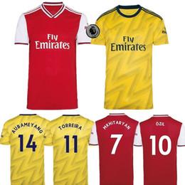 personalizzazione della camicia Sconti 19/20 Gunners home maglia da calcio rossa 2019 Divisa da calcio gialla da trasferta Maglie da calcio personalizzabili manica corta