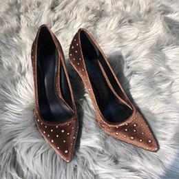 Talons hauts femmes diamant brun en Ligne-Marron Diamant Chaussures Chaussures Femmes Talon Haut Pointu Slip-on Chaussures Classique Talon Aiguille De Mariage Robe Chaussures De Luxe Designer Style