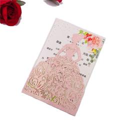 2019 animação de desenho animado de casamento 10pcs Gold Silver / Red Rose / Pink Glitter Papel Princesa corte a laser casamento convite cartões 4 noivas aniversário Girls'