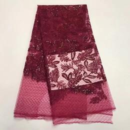 Zj188 Excellente motif de franges tissu africain de dentelle de maille avec le tissu français net de dentelle de paillettes pour la robe de soirée (5 yards / lot) ? partir de fabricateur