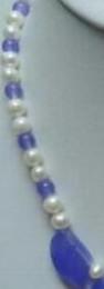 Lila jade perlenkette online-Halskette Noblest Purple Jade Leaf Echte weiße Perlenkette