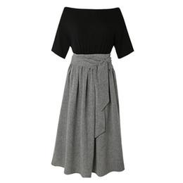 Merletto nero di modo coreano online-Donne Maxi Abiti Elegante stile coreano Ufficio Lady Vintage nero Aline vita alta Lace Up semplice Summer Fashion Dress femminile