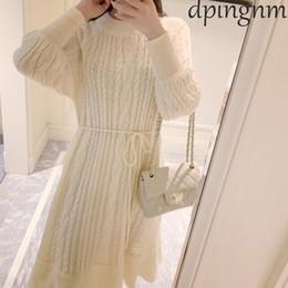 vestido de camisola de comprimento total Desconto Mulheres elegantes Camisola Vestido O Pescoço Sashes de Manga Completa Trecho Vestidos Feminino Na Altura Do Joelho-comprimento Vestido De Malha 2019