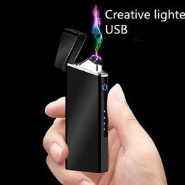 2 accendino touch screen ricarica accendisigari creativo USB antivento accendisigari touch finger induzione potenza display maschio da