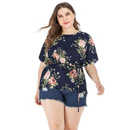 belted peplum shirts Coupons - Summer Women's Tops Plus Size Sexy V-Neck Floral Print Flare Sleeve Belted Surplice Peplum Tops And Shirts Blusas Feminina New